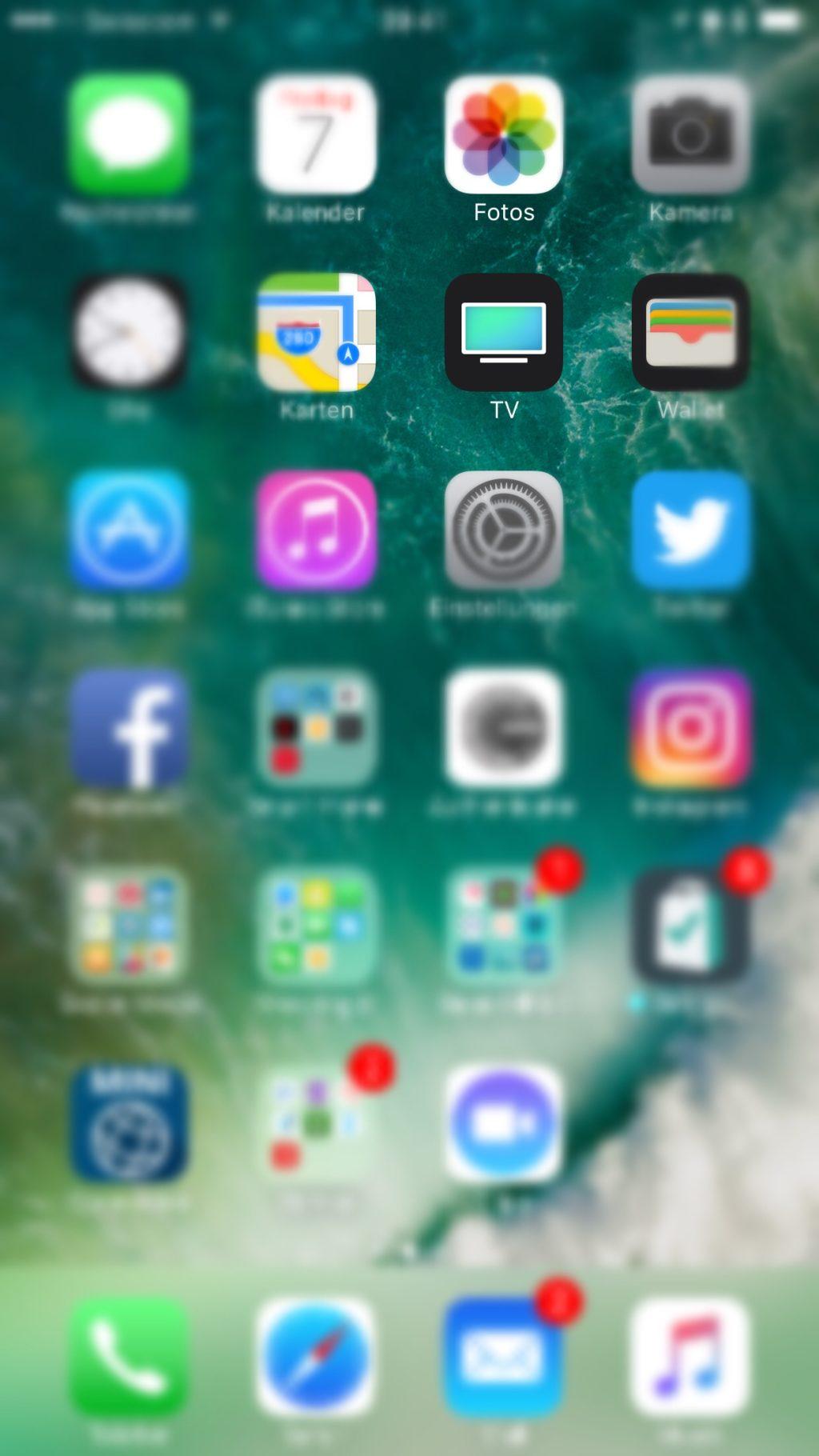 TV App auf dem Homescreen