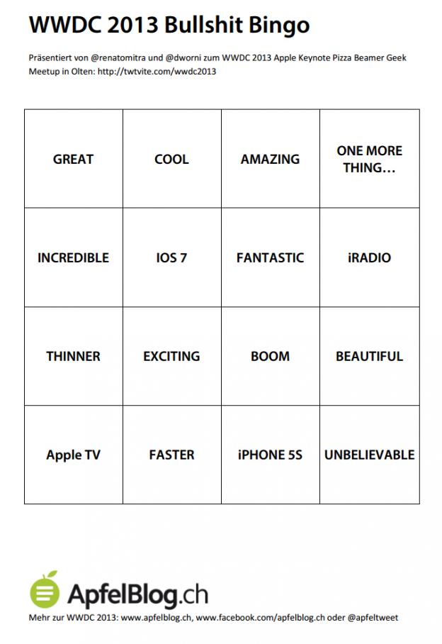 WWDC 2013 Bullshit Bingo